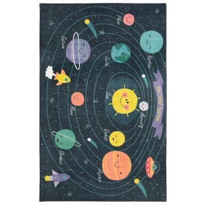 Planet System Blue 5 ft. x 8 ft. Themed Area Rug