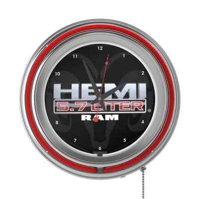Neon Wall Clock Red with Pull Chain-Pub Garage or Man Cave Accessories Hemi Double Rung Analog Clock