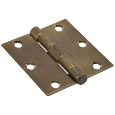 3-1/2 in. Antique Brass Residential Door Hinge with Square Corner Removable Pin Full Mortise (9-Pack)