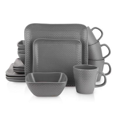 Stone Lain 32 Piece Stoneware Square Weave Dinnerware Set, Service for 8, Gray