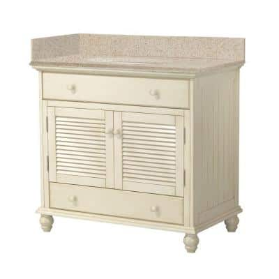 Cottage 37 in. W x 22 in. D Vanity in Antique White with Granite Vanity Top in Beige with White Sink
