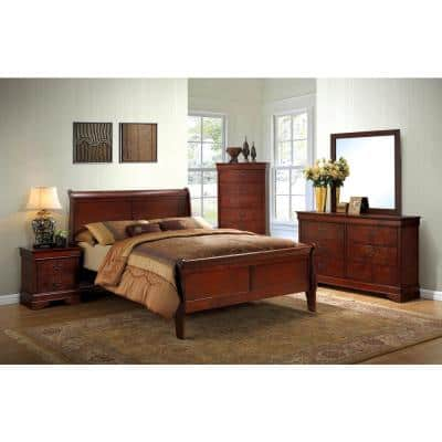 Louis Philippe III Full Bed in Cherry finish