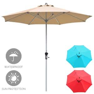9 ft. Aluminum Market Push-Up Patio Umbrella in Beige