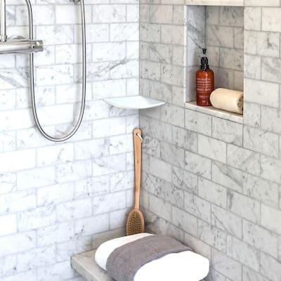 Morning Fresh White 7.625 in. x 7.625 in. Polished Marble Wall Mount Corner Shelf Tile