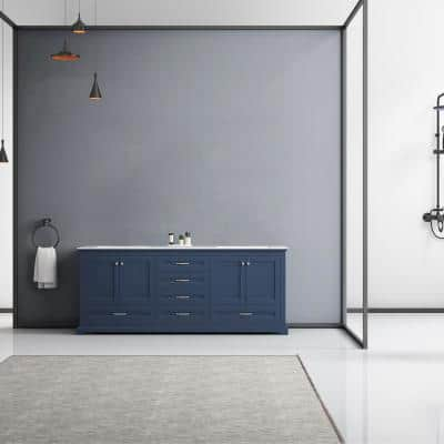 Dukes 80 Inch Double Bathroom Vanity Cabinet in Navy Blue with Top