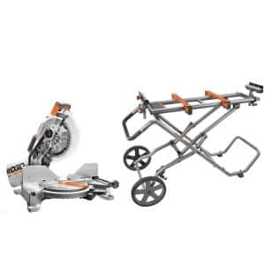 15 Amp 10 in. Dual Miter Saw with LED Cut Line Indicator with Universal Mobile Miter Saw Stand with Mounting Braces