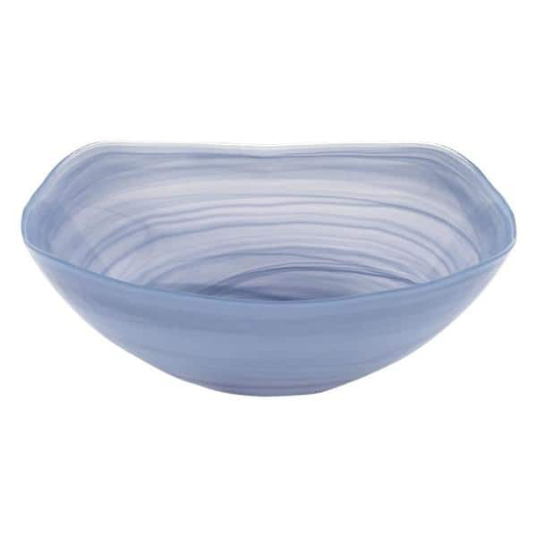 Badash Crystal Sky Blue Alabaster Glass 10 In Squarish Bowl P252 The Home Depot
