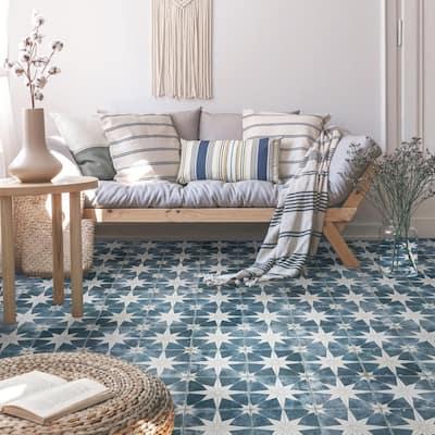 Kings Star Encaustic 17-5/8 in. x 17-5/8 in. Sky Ceramic Floor and Wall Tile (11.02 sq. ft. /Case)
