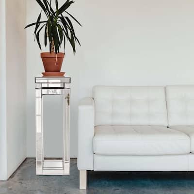 Tall Mirrored Pedestal Table