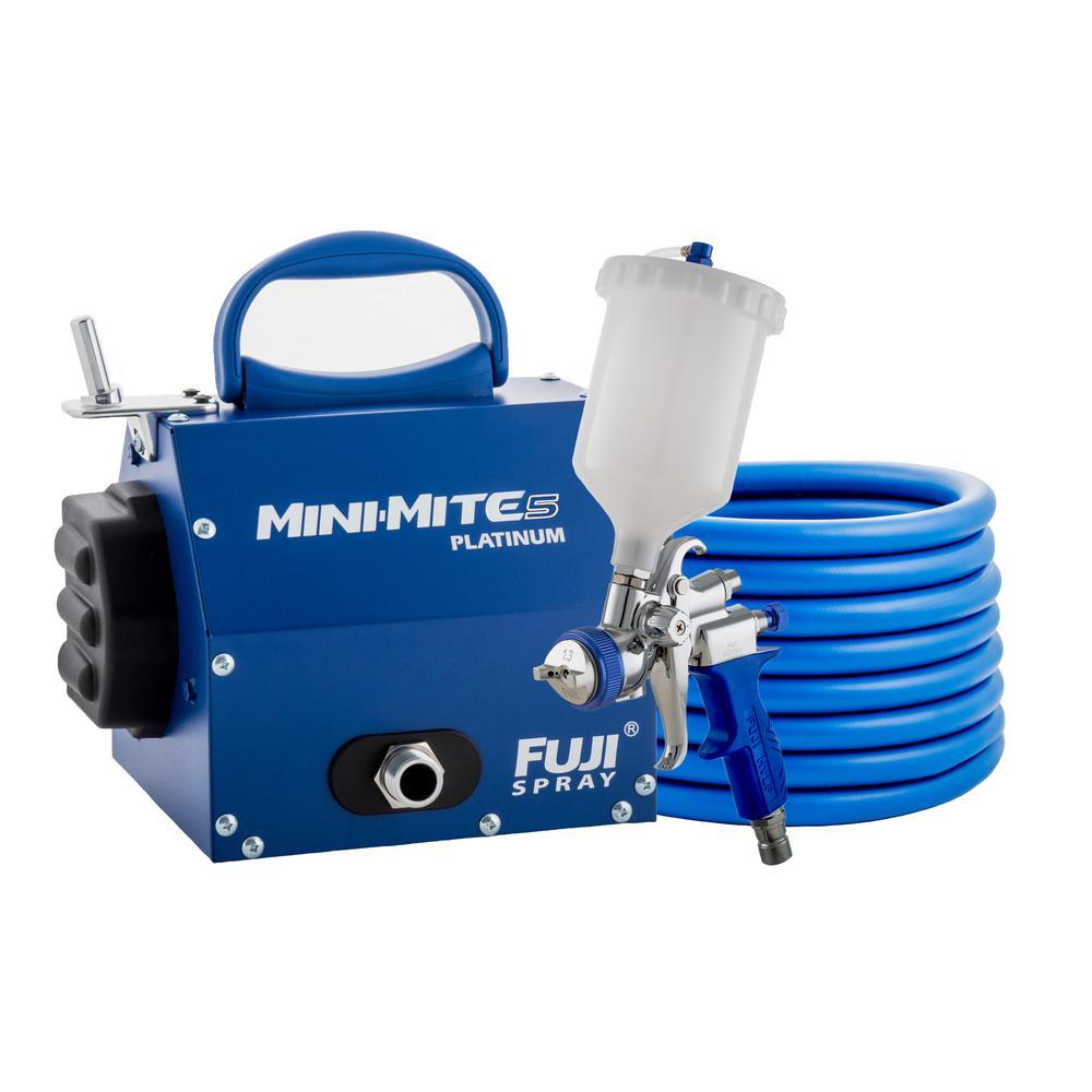 Mini-Mite 5 Platinum T75G Gravity Feed Spray Gun with 600cc Cup 1.3 mm Air Cap Set HVLP Spray System