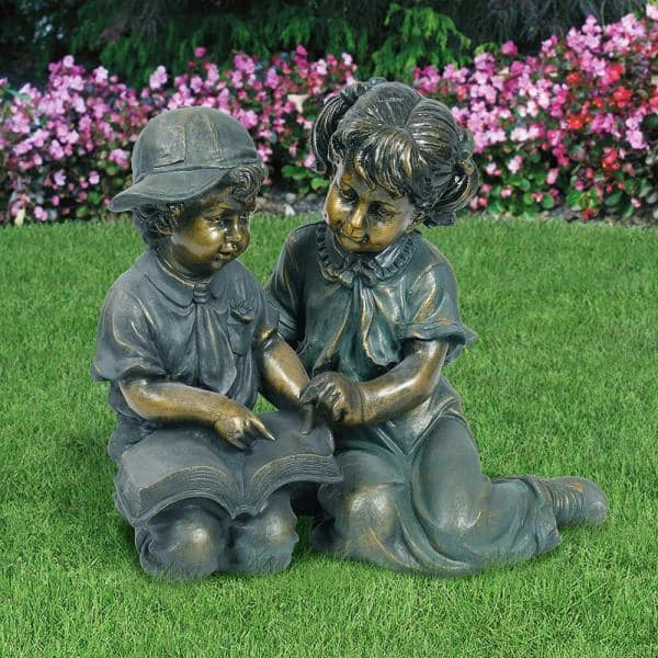Alpine Corporation 2 Piece Indoor Outdoor Girl And Boy Reading Statue Set Yard Art Decoration Gxt258a The Home Depot