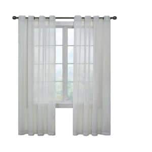 White Solid Grommet Sheer Curtain - 59 in. W x 63 in. L