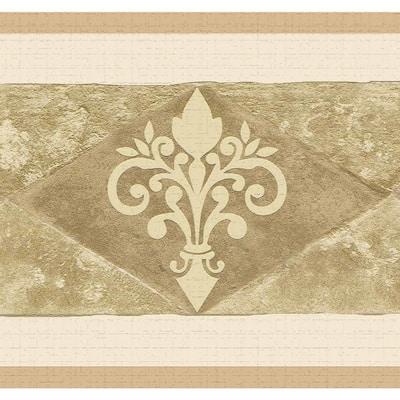 Falkirk Dandy Dark Beige, Sepia Rhombus, Scrolls Abstract Peel and Stick Wallpaper Border