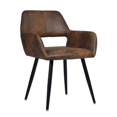 Fabric Brown Upholstered Hollow Design Armrest Side Chair