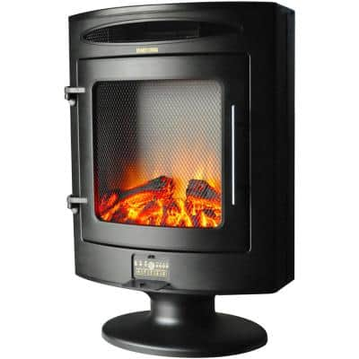 1500-Watt Freestanding 19.7 in. Electric Fireplace with Log Display in Black