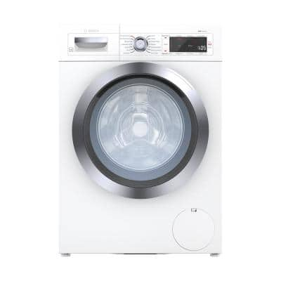 800 24 in. 2.2 cu. ft. 240-Volt White with Chrome Accents High-Efficiency Front Load Smart Washer, ENERGY STAR