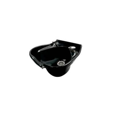 Cameo 22 in. W x 10 in. D Enamel Shampoo Sink with 522 Fixture, Spray, Strainer and Bracket in Black