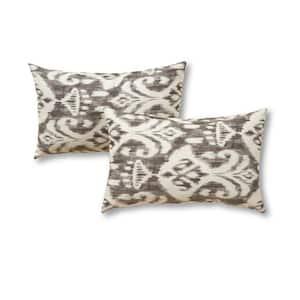 Graphite Ikat Lumbar Outdoor Throw Pillow (2-Pack)