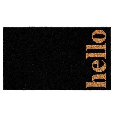 Vertical Hello Black/Natural 24 in. x 36 in. Door Mat