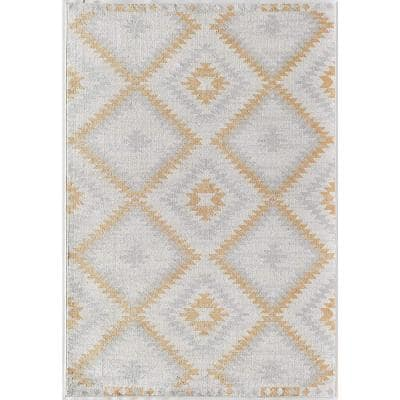 Soleil Golden Touch White Tribal 8 ft. x 12 ft. Moroccan Area Rug