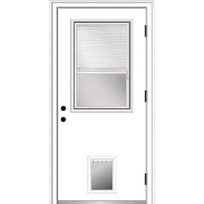 32 in. x 80 in. Internal Blinds Left Hand Outswing 1/2 Lite Clear Primed Steel Prehung Front Door with Pet Door