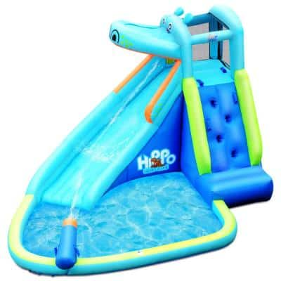 Blue Inflatable Kids Hippo Bounce House Slide Climbing Wall Splash Pool with Bag