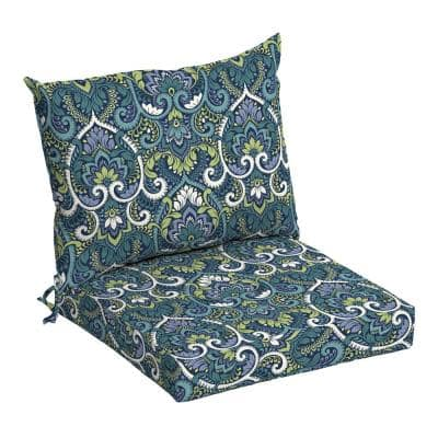 21 in. x 17 in. 2-Piece Deep Seating Outdoor Lounge Chair Cushion in Sapphire Aurora Damask