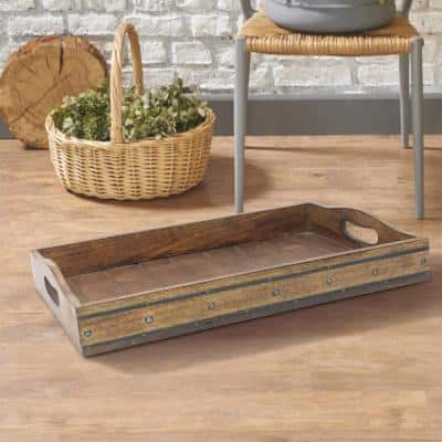 Brown Rectangular Wooden Tray with Black Metal Trim and Rivets