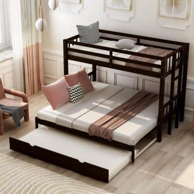 Espresso Twin Over Twin/King Bunk Bed with Trundle