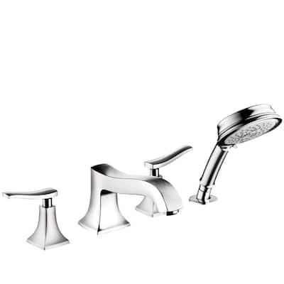 Metris C 2-Handle Deck Mount Roman Tub Faucet with Hand Shower in Chrome