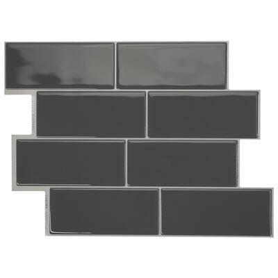 Metro Grigio Dark Gray 11.56 in. x 8.38 in. Vinyl Peel and Stick Tile (2.21 sq. ft./ 4-pack)