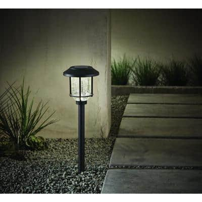 14 Lumens Solar Black LED Metal and Glass Landscape Pathway Light