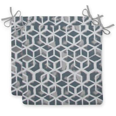 Cubed Grey Square Outdoor Seat Cushion (2-Pack)