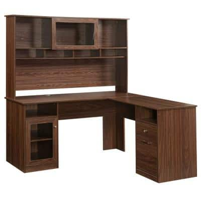 Brown L-Shaped Executive Desk with Hutch and Glass Doors Shelves and File Cabinet for Home Office