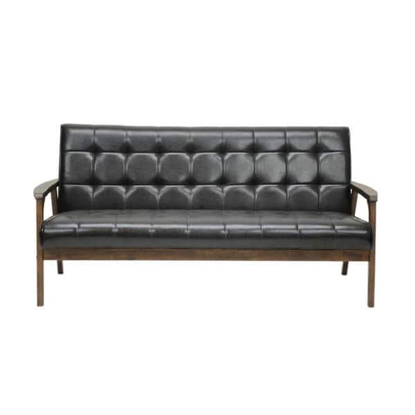 Baxton Studio Masterpiece 63.8 in. Brown Faux Leather 4-Seater Cabriole Sofa with Wood Frame | The Home Depot