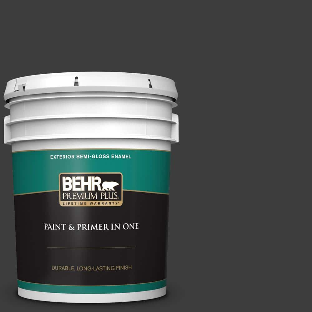 Behr Premium Plus 5 Gal Black Semi Gloss Enamel Exterior Paint And Primer In One 534005 The Home Depot
