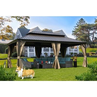 Alexander 12 ft. D x 10 ft. H x 20 ft. W Hardtop Double-Roof Aluminum Gazebo with Privacy Curtain and Mosquito Net