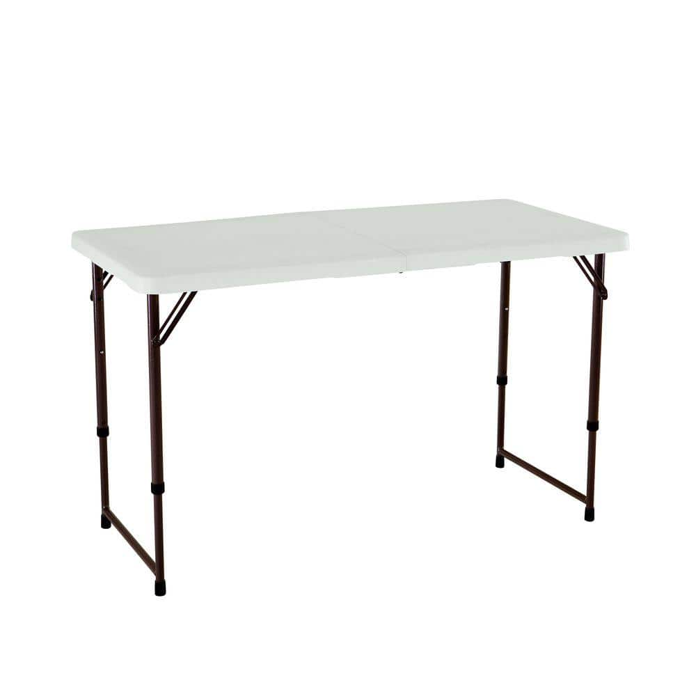 Lifetime 4 Ft Adjustable Height Fold In Half Table Almond 80455 The Home Depot