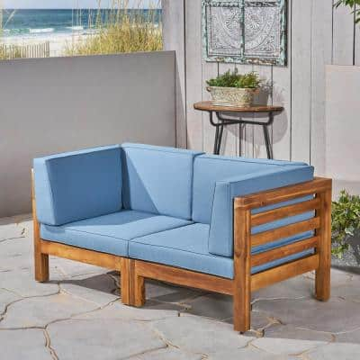 Oana Teak Brown 2-Piece Wood Outdoor Loveseat with Blue Cushions
