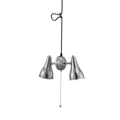 2-Light Dual Brush Silver Metal Cone Pull String Ceiling Pendant