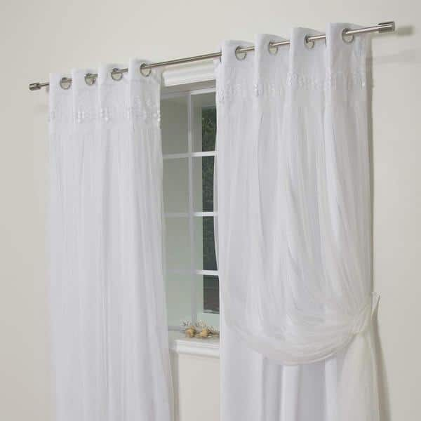 Best Home Fashion White Solid Grommet Room Darkening Curtain 52 In W X 84 In L Set Of 2 Grom Bo Elis 84 White The Home Depot