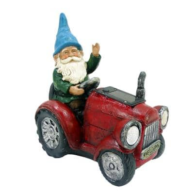10 in. Tall Outdoor Garden Gnome Riding Red Tractor Garden Statue Decoration with LED Lights, Multi-Color
