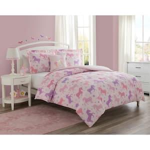 Unicorn Starlight Pink 3-Piece Microfiber Comforter Set - Twin