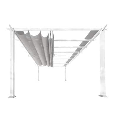 Florence 11 ft. x 11 ft. White Frame Pergola with Gray Canopy