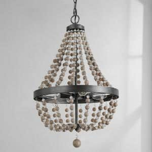 4-Light 16 in. Candle Style Wood Bead Empire Bohemian Chandelier Rustic Black Beaded Pendant