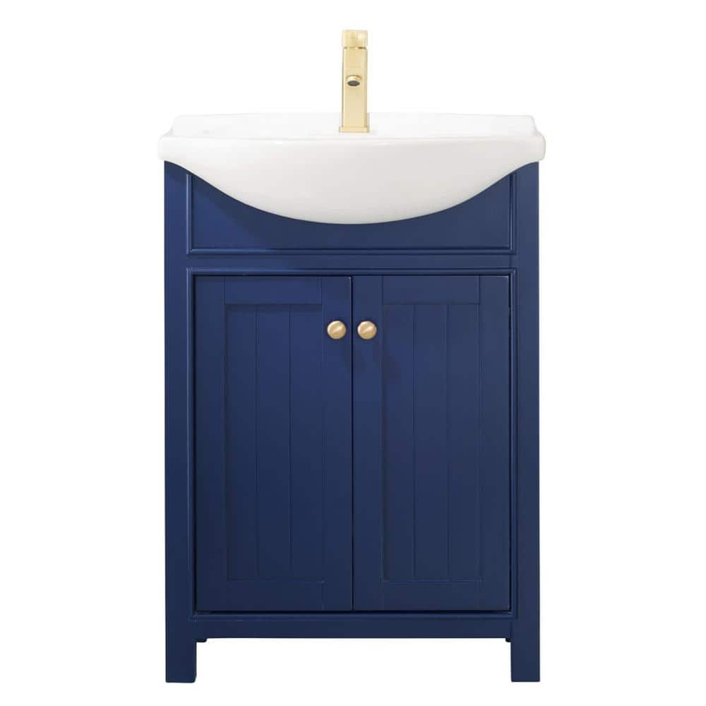 Design Element Marian 24 In W X 17 In D Bath Vanity In Blue With Porcelain Vanity Top In White With White Basin S05 24 Blu The Home Depot