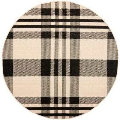 Courtyard Black/Bone 7 ft. x 7 ft. Indoor/Outdoor Round Area Rug