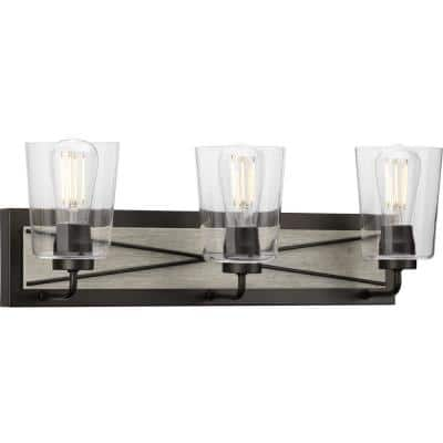 Briarwood Collection 3-Light Graphite Clear Glass Coastal Bath Vanity Light