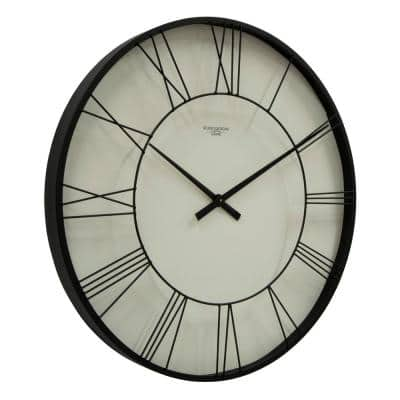 Dormer Large 30 Inch Modern Wall Clock Quartz Movement Roman Numerals Shadow Box Metal Frame
