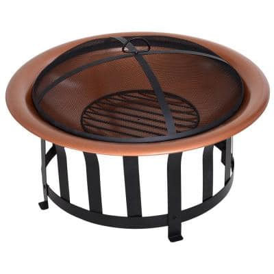 30 in. W x 19 in. H Copper Colored Steel Round Metal Wood Fire Pit Bowl w/Base, Poker & Mesh Screen for Ember Protection
